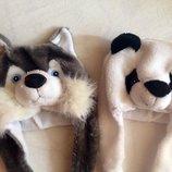 Новая. Зверошапка панда, собачка, волк Ог 52-56см. Теплая шапка животные, зверюшки.