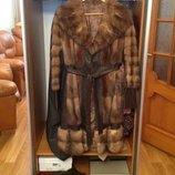 Пальто кожаное с соболем