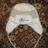 Зимняя,зимний комплект шапка с ушками на завязках и шарф,шарфик