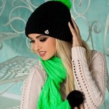 Комплект шапка шарф с бубонами.«СТЕФАНИ». М 4001