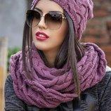 Комплект шапка цельный шарф-хомут. Крупная вязка.