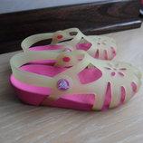 кроксы аквашузы резиновые 18,5 см оригинал Crocs Крокс бежевые розовые