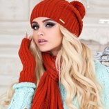 Комплект шапка шарф с бубонами митенки.«МОНБЛАН». М 518