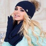 комплект шапка шарф-восьмёрка перчатки со съёмными митенками.«АРИЗОНА». М 4194