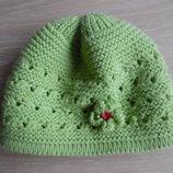 шапка берет деми 1-3 года осень весна девочке зеленая с цветком в дирочку