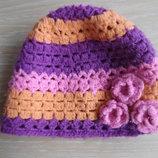 шапка берет деми 3-6 года осень весна девочке George Джорж розовая с цветками.,