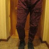 Ярко бордовые брюки - джоггеры Denim Co. Англия. 34/30.