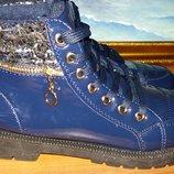 Теплые зимние ботинки синие лак