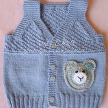 Шерстяная жилетка для малыша шерсть 100%