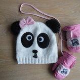 шапка зима варежки перчатки 1,5-4 лет девочке розовая панда Smile Смайл очень теплые