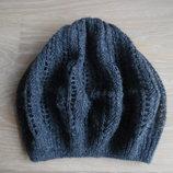 шапка берет деми 5-13 лет осень весна девочке новая серая тонкая дырочки