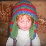 теплая шапка на флисе 1-3 года