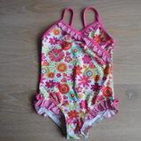 Купальник на море цветочный Принт 2-3 года девочке розовый