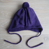 шапка берет деми 6 мес-2 лет осень весна девочке зима теплая бомбон завязки фиолетовая