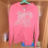 Кофта кенгурушка розового цвета с капюшоном,карманами, на молнии р.46-48