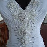 Свадебное новое платье 600 белое и бежевое