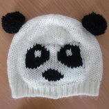 шапка берет деми 3-6 лет осень весна девочке панда белая