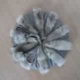 шапка берет зима цвет серый норка натуральная с кожей Modellhut M-L рр