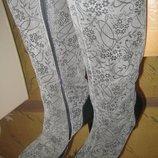 Шик Роскошные сапоги до колена Цветочный принт,лазерное покрытие Натур.кожа На флисе 39-39,5 Новые