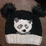 Теплая шапка с пандой,р.54-56