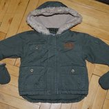 0 - 3 месяца Обалденная Фирменная курточка куртка парка с рукавицами очень теплая