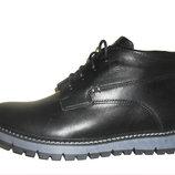 Зимние мужские черные ботинки кожаные