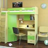 Кровать-чердак детская со столом и шкафом