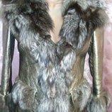 Эксклюзив зимняя кожаная куртка-дубленка с чернобуркой, металлик золото-серебро .