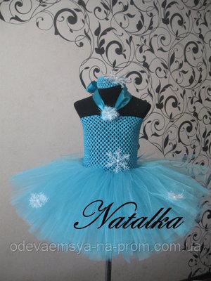Карнавальная юбка-платье из фатина Снежинка
