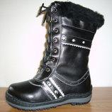 Зимние кожаные сапоги на цигейке для девочек