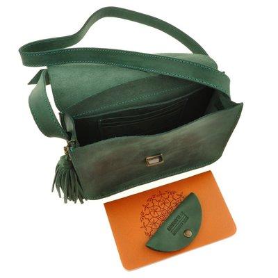 57146b6137ef Сумка малая кросс-боди натуральная кожа женская зеленая ручная работа.  Previous Next