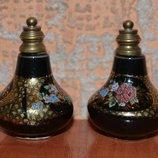 2 старинных флакончика для духов фарфор роспись бронза редкость