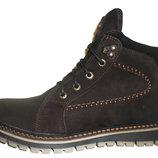Ботинки мужские зимние коричневые из нубука