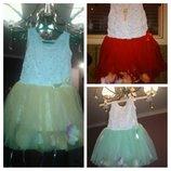 Очень красивое нарядное платье для девочки недорого с лепестками от 1 Подарок