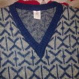 Пуловер мужской мохеровый, размер 50-52., цвет- серый с синим.
