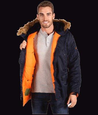 Зимняя мужская куртка аляска Slim fit N-3B Alpha industries USA альфа  индастриз 4e2d86f7e88ca