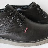 Классические мужские комфортные зимние сапоги ботинки кожа Levis
