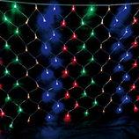 Новогодняя светодиодная прозрачная LED гирлянда сетка 2х2 м