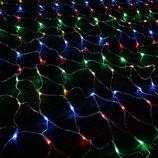 Новогодняя светодиодная прозрачная LED гирлянда сетка 1,5х1,5 м