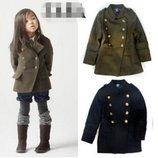 Пальто шинель Zara синее, хаки, примерно, от 2-7 лет в наличии