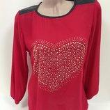 Блуза шифоновая, украшенная клепками, вставки из кожзама