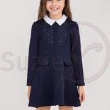 Платья трикотажные в школу синий и черный цвет Suzie
