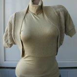 Комплект из болеро вязаное водолазка безрукавка американка