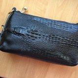 Кожаный клатч сумка крокодил черный