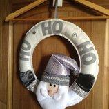 Распродажа - новый Дед Мороз в круге на двери 35 см Carrefour Франция