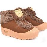 Ботинки зимние на платформе Fashion карамель-пудра
