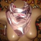 шарф платок розовый в тюльпаны