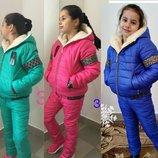 Зимний костюм для девочки на овчинке мята