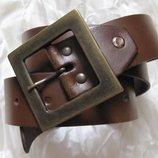 Пояс ремень коричневый кожаный L
