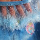 карнавал корона рапунцель золушка 3-4 г утренник принцесса Disney Дисней голубое бархат пышное